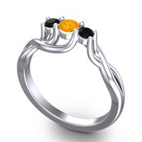 Petite Vitana Citrine Ring with Black Onyx in Palladium