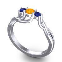Petite Vitana Citrine Ring with Blue Sapphire in 14k White Gold
