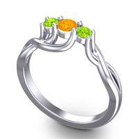 Citrine Petite Vitana Ring with Peridot in Platinum