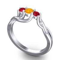 Citrine Petite Vitana Ring with Ruby in 18k White Gold