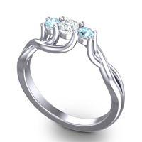 Petite Vitana Diamond Ring with Aquamarine in 18k White Gold