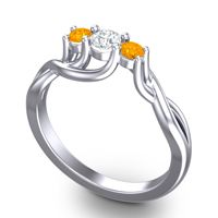 Diamond Petite Vitana Ring with Citrine in 18k White Gold