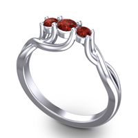 Garnet Petite Vitana Ring in 18k White Gold