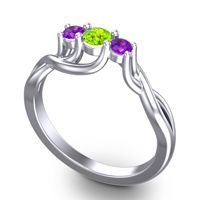 Peridot Petite Vitana Ring with Amethyst in 18k White Gold
