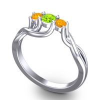 Peridot Petite Vitana Ring with Citrine in Platinum