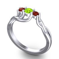 Peridot Petite Vitana Ring with Garnet in Platinum