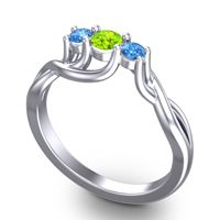 Peridot Petite Vitana Ring with Swiss Blue Topaz in Palladium