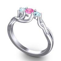 Pink Tourmaline Petite Vitana Ring with Aquamarine in Platinum