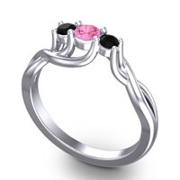 Pink Tourmaline Petite Vitana Ring with Black Onyx in 14k White Gold