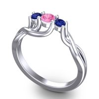 Pink Tourmaline Petite Vitana Ring with Blue Sapphire in Platinum
