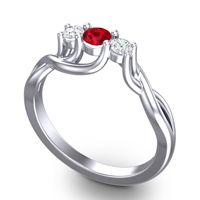 Ruby Petite Vitana Ring with Diamond in 14k White Gold