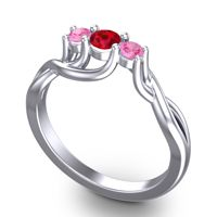 Ruby Petite Vitana Ring with Pink Tourmaline in 18k White Gold