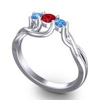 Ruby Petite Vitana Ring with Swiss Blue Topaz in Palladium