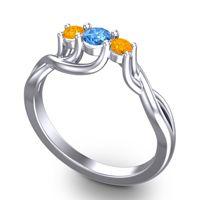 Swiss Blue Topaz Petite Vitana Ring with Citrine in 14k White Gold