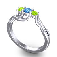 Swiss Blue Topaz Petite Vitana Ring with Peridot in Platinum