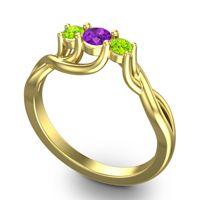 Amethyst Petite Vitana Ring with Peridot in 18k Yellow Gold