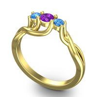 Amethyst Petite Vitana Ring with Swiss Blue Topaz in 18k Yellow Gold