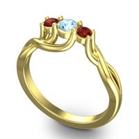 Aquamarine Petite Vitana Ring with Garnet in 18k Yellow Gold
