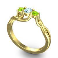 Aquamarine Petite Vitana Ring with Peridot in 18k Yellow Gold