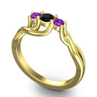 Black Onyx Petite Vitana Ring with Amethyst in 18k Yellow Gold