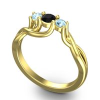 Black Onyx Petite Vitana Ring with Aquamarine in 14k Yellow Gold