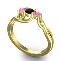 Black Onyx Petite Vitana Ring with Pink Tourmaline in 14k Yellow Gold