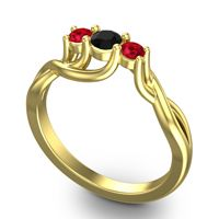 Black Onyx Petite Vitana Ring with Ruby in 14k Yellow Gold
