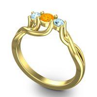 Petite Vitana Citrine Ring with Aquamarine in 18k Yellow Gold