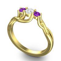 Diamond Petite Vitana Ring with Amethyst in 14k Yellow Gold