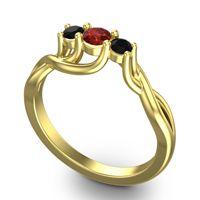 Garnet Petite Vitana Ring with Black Onyx in 18k Yellow Gold