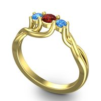 Garnet Petite Vitana Ring with Swiss Blue Topaz in 18k Yellow Gold
