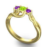 Peridot Petite Vitana Ring with Amethyst in 14k Yellow Gold