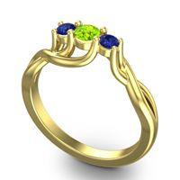Peridot Petite Vitana Ring with Blue Sapphire in 14k Yellow Gold