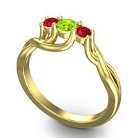 Peridot Petite Vitana Ring with Ruby in 18k Yellow Gold
