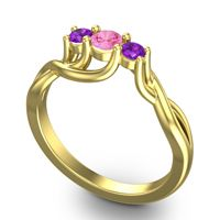 Pink Tourmaline Petite Vitana Ring with Amethyst in 18k Yellow Gold