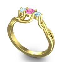 Pink Tourmaline Petite Vitana Ring with Aquamarine in 14k Yellow Gold