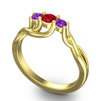 Ruby Petite Vitana Ring with Amethyst in 18k Yellow Gold