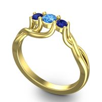 Swiss Blue Topaz Petite Vitana Ring with Blue Sapphire in 18k Yellow Gold
