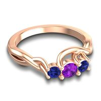 Amethyst Petite Vitana Ring with Blue Sapphire in 18K Rose Gold