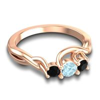 Petite Vitana Aquamarine Ring with Black Onyx in 18K Rose Gold