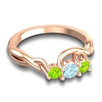Aquamarine Petite Vitana Ring with Peridot in 18K Rose Gold
