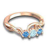 Aquamarine Petite Vitana Ring with Swiss Blue Topaz in 14K Rose Gold
