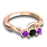 Black Onyx Petite Vitana Ring with Amethyst in 14K Rose Gold