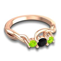Black Onyx Petite Vitana Ring with Peridot in 18K Rose Gold