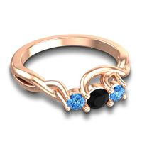 Black Onyx Petite Vitana Ring with Swiss Blue Topaz in 14K Rose Gold