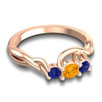 Petite Vitana Citrine Ring with Blue Sapphire in 14K Rose Gold