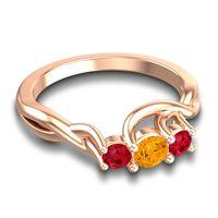 Petite Vitana Citrine Ring with Ruby in 14K Rose Gold