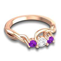 Diamond Petite Vitana Ring with Amethyst in 14K Rose Gold