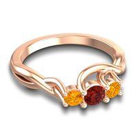 Garnet Petite Vitana Ring with Citrine in 14K Rose Gold