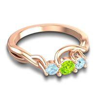Peridot Petite Vitana Ring with Aquamarine in 18K Rose Gold